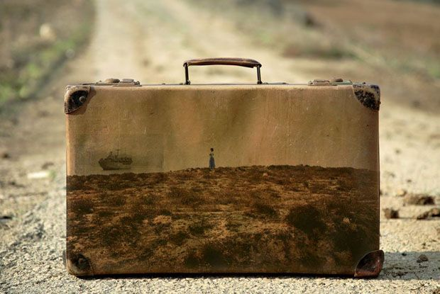 """""""For his project """"Memory Suitcases,"""" Israeli photographer Yuval Yairi used his suitcases as a """"canvas"""" for displaying his photographs. Each of the images shows a photograph of a scene in Israel displayed on the surface of old luggage."""""""