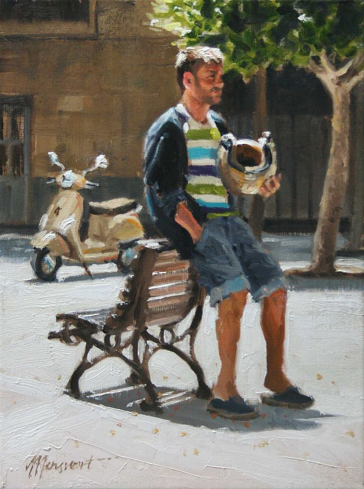 Waiting for a friend | oil on panel painting by Richard van Mensvoort