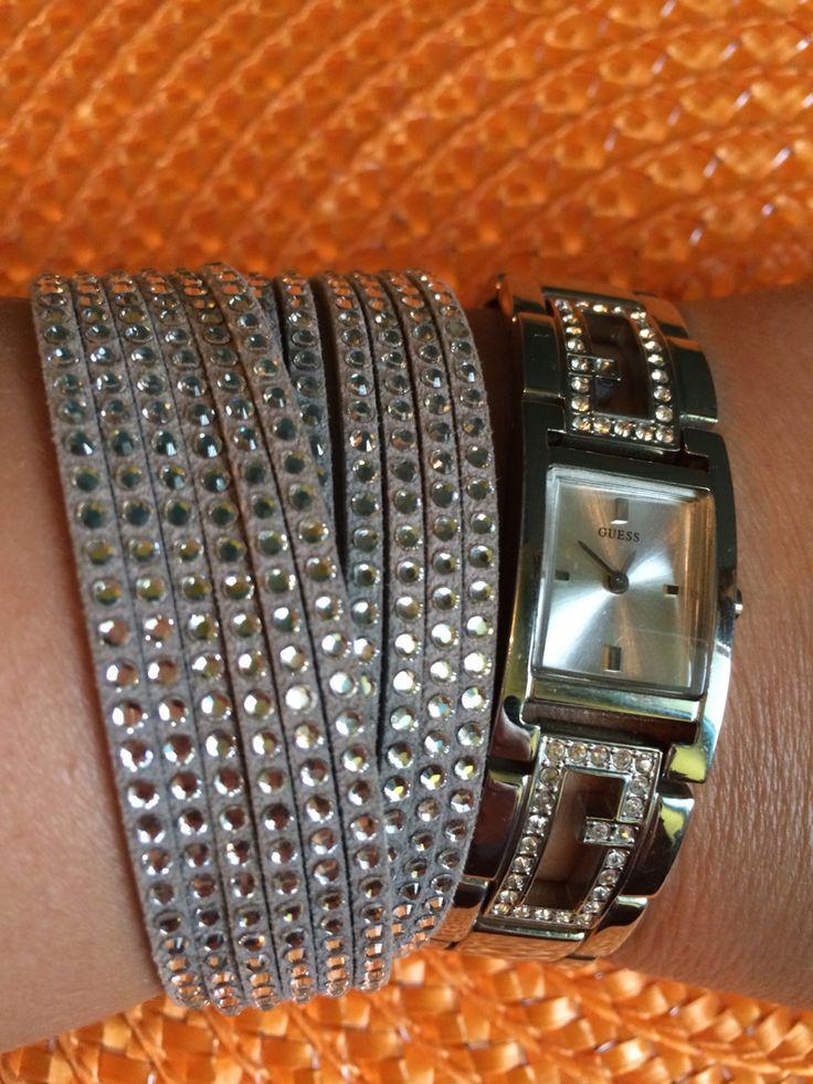 Swarovski slake bracelet & Guess watch