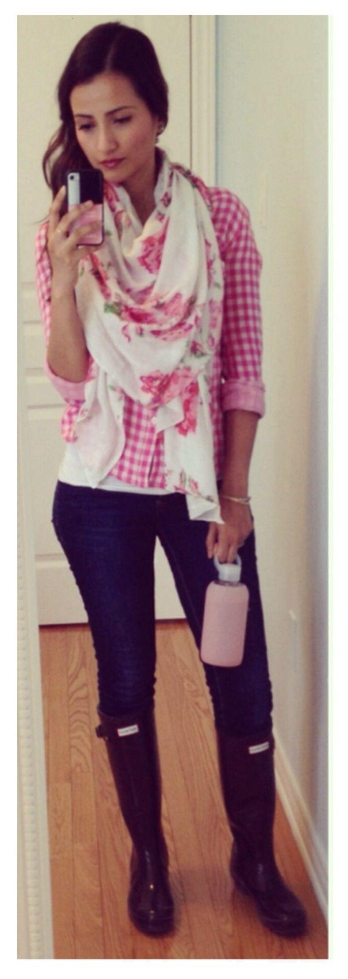 Pink Gingham Shirt, Floral Scarf, Hunter Boots   Ella Pretty
