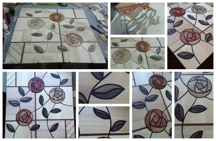 """Modern wood inlay floor is in the """"Beauty and the Beast's roses"""" style."""