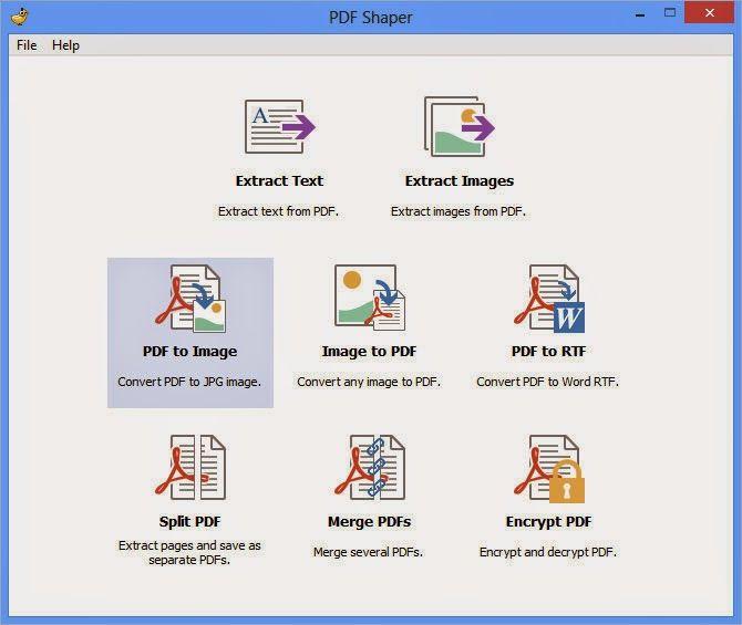 Bajar PDF Shaper 3.0 - Multi Herramienta PDF es una colección de herramientas PDF libres, lo que le permite combinar, dividir, cifrar y descifrar archivos PDF, convertir imágenes a PDF, convertir PDF a RTF o imágenes, extraer texto e imágenes de PDF