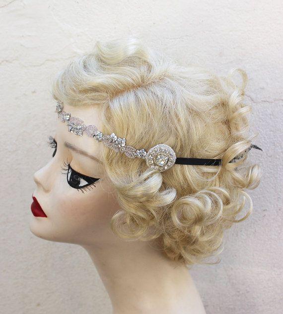 Silber Perlen Flapper Stirnband HaarZubehör von BatcakesCouture, $38.95