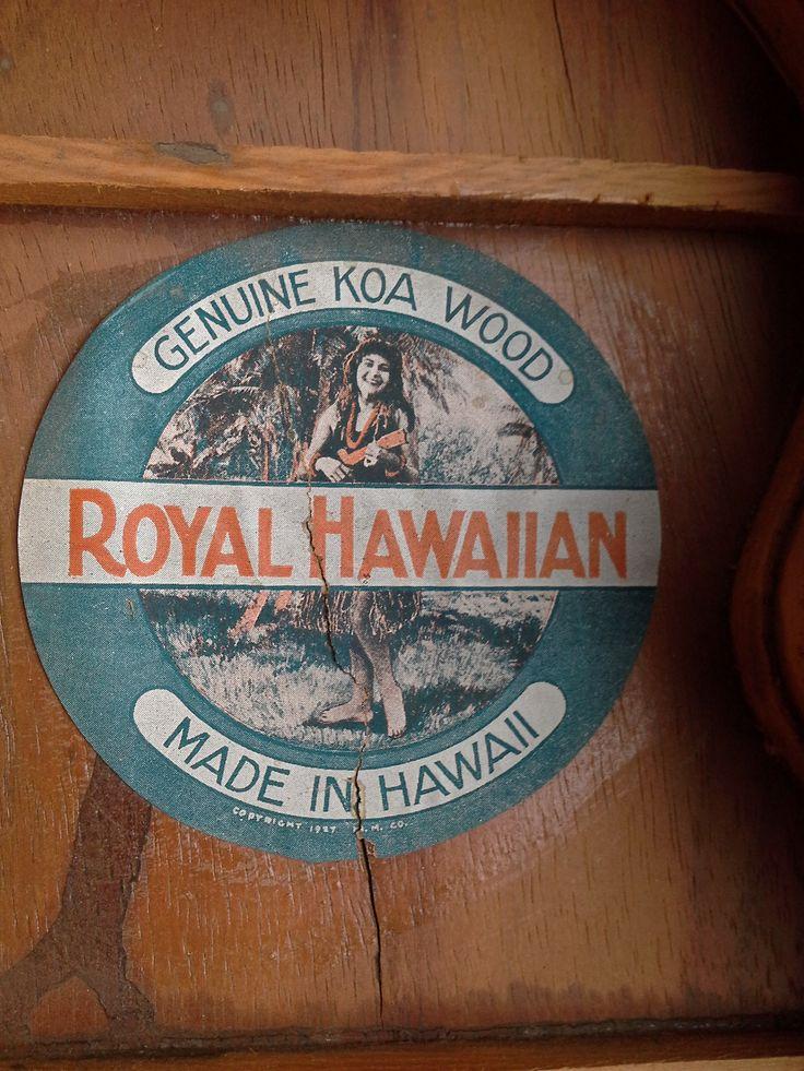 1920s Royal Hawaiian ukulele interior label.  These instruments were made by the Hawaiian Mahogany Company/C.Q. Yee Hop & Co.