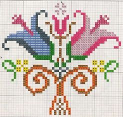 Tulip, traditional cross stitch pattern