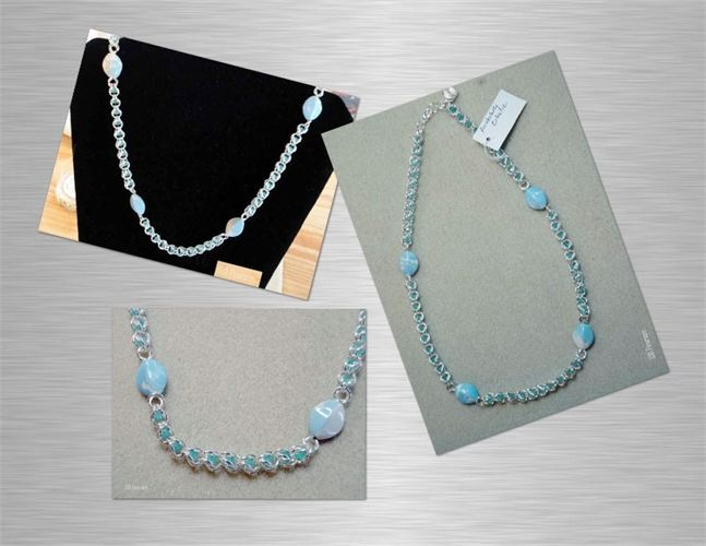 Captive aqua beads with complementary marbled beads necklace