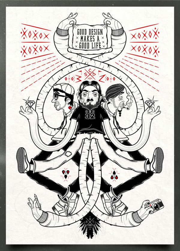 Incredible characters, nice line work AND a great motto in this poster by Roberto Ortiz.