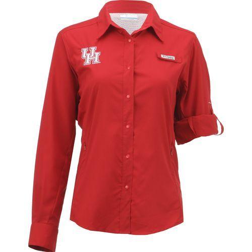 Columbia Sportswear Women's University of Houston Long Sleeve Tamiami PFG Shirt (Red, Size Medium) - NCAA Licensed Product, NCAA Women's at Academy...