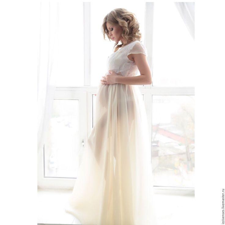 Купить Будуарное платье Утренняя безмятежность - айвори, будуарное платье, фотосессия, фотосессия беременных, Беременность