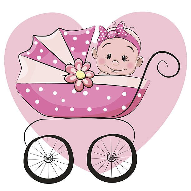 Cute cartoon baby girl векторная иллюстрация