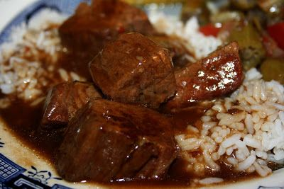 Crockpot Beef Tips and Rice - Braising beef, cut into meaty chunks, slow cooked in a well seasoned gravy and served over rice or egg noodles.