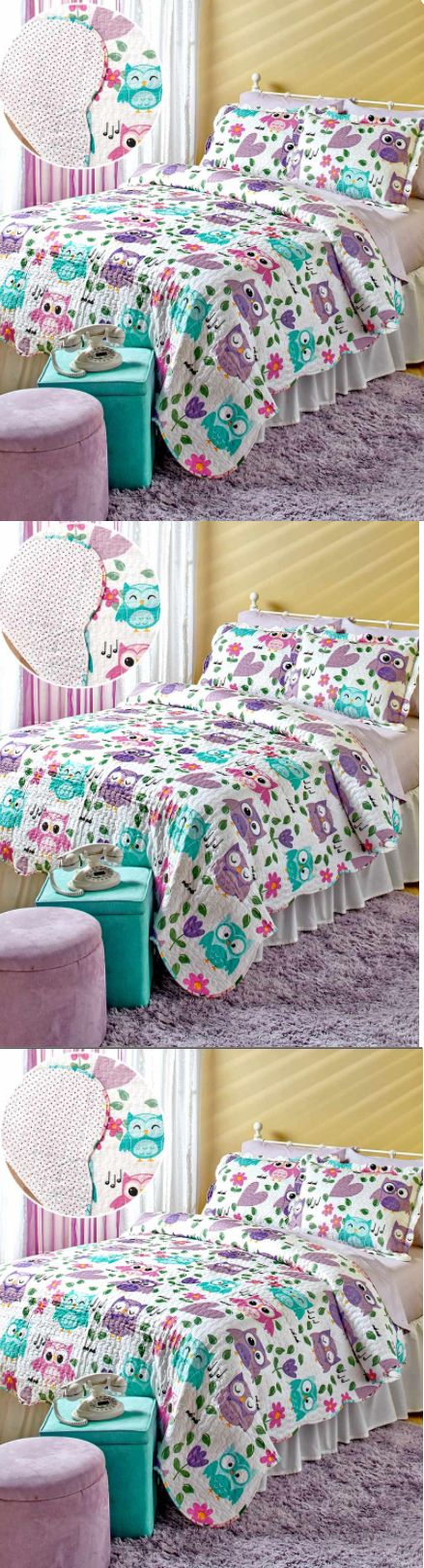 Kids at Home: Bedding Sets Twin Girls Quilt And Bedspreads Kids Reversible Purple Owls Teens -> BUY IT NOW ONLY: $39.99 on eBay!