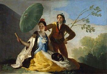 """""""Representa a una muchacha sentada en un ribazo, con un perrillo en el halda; a su lado un muchacho en pie haciéndole sombra con un quitasol [...]""""  Francisco de Goya, Cuenta de entrega de obras a la Real Fábrica de Tapices, 12 de agosto de 1777."""