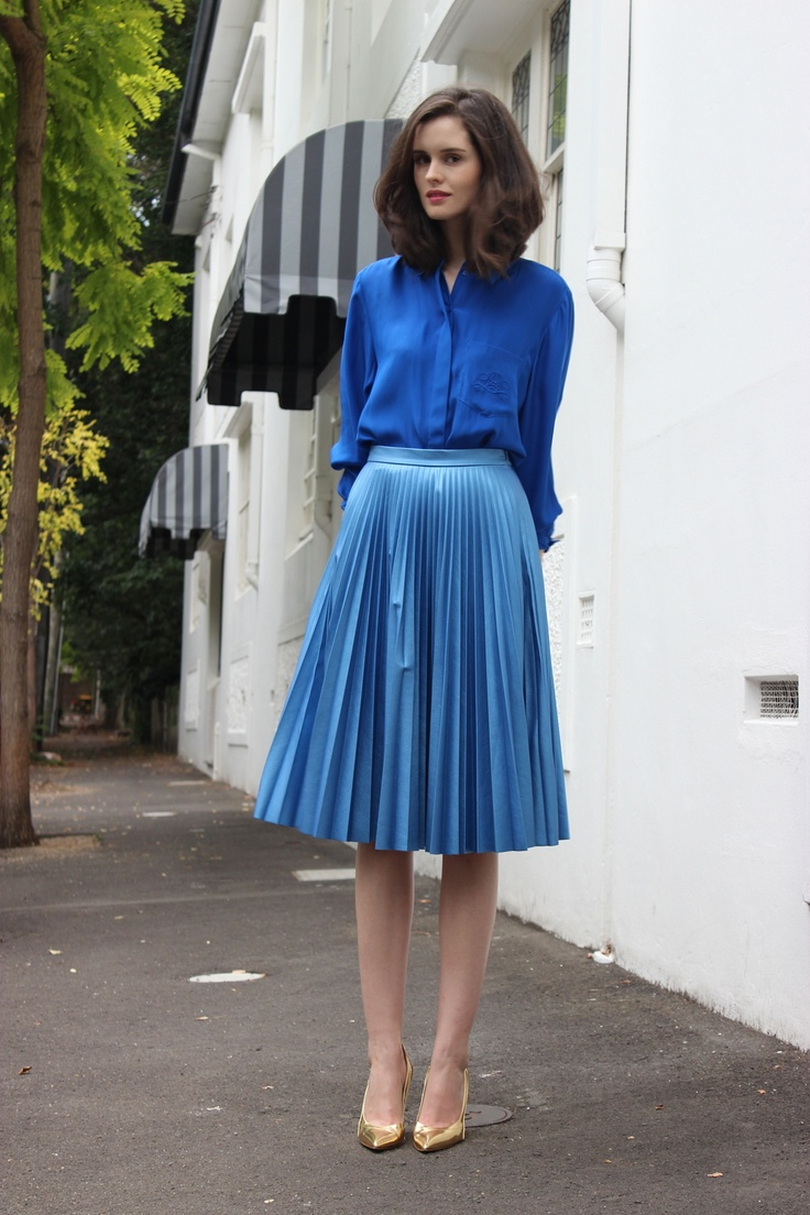 BYCHILL Chloe Hill Blue Silk and Pleats