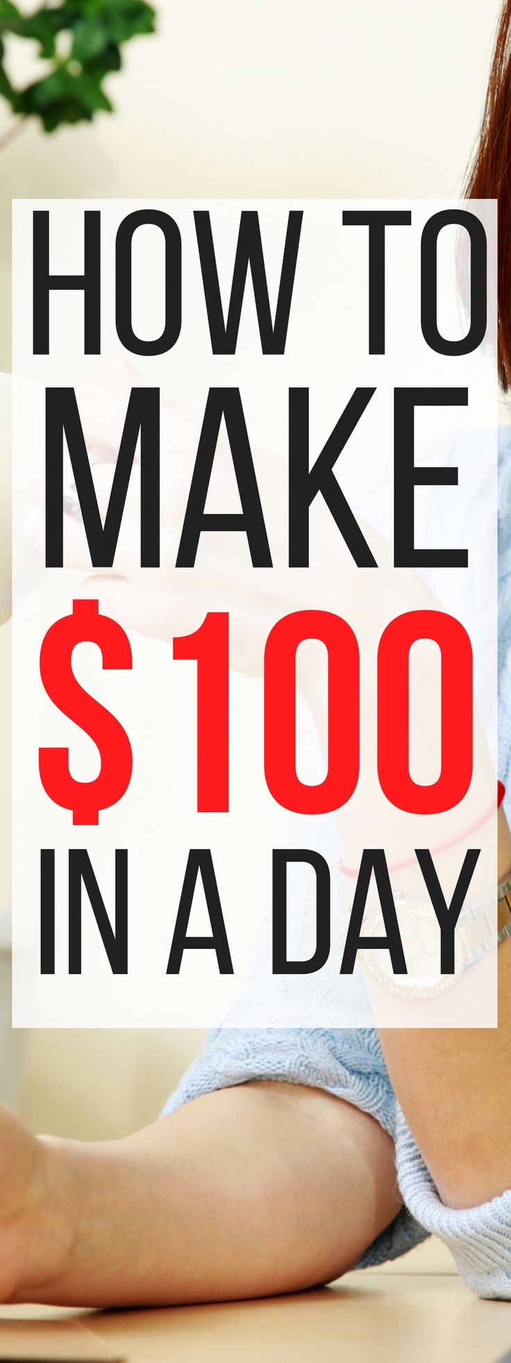 These 6 ways to make an extra $100 in a day are THE BEST! I'm so glad I found this, now I can make extra money in my spare time with these ideas. Pinning for sure! #money #MakeMoneyOnline #makemoneyfromhome #makemoneyfast #waystomakemoney #extramoney