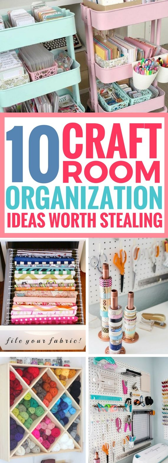 These Craft Room Organization ideas are really good. Great ways to organize craft supplies and it just takes a few, quick steps that are easy enough for anyone. Definitely saving this home hack for later
