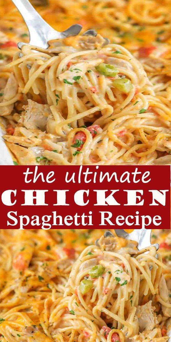 This Easy Recipe Calls For Chicken Spaghetti Noodles Cream Of Chicken Salsa Sour Cream And Cheese Maki In 2020 Chicken Spaghetti Recipes Recipes Spaghetti Recipes