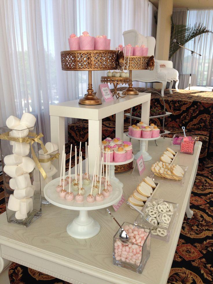 Blush gold and white -️sweet bar -bridal shower -
