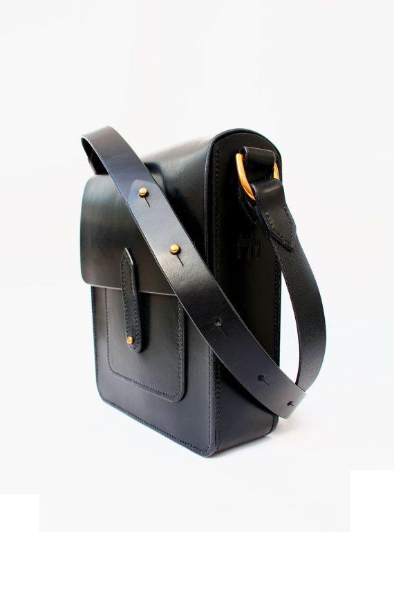 Hand Stitched Black Leather Half Satchel. by JosieFayLeather
