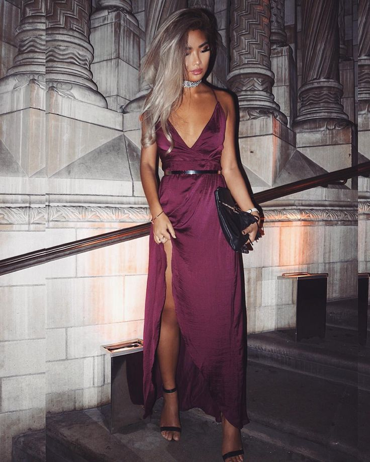 SHOP | @x_carms | Sarah Ashcroft Silky Strappy Maxi Dress Purple