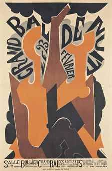 Natalia Goncharova (1881-1962) GRAND BAL DE NUIT lithograph in colours, 1926, printed by Josef-Charles, Paris, 47 x 31 in. (120 x 79 cm.)