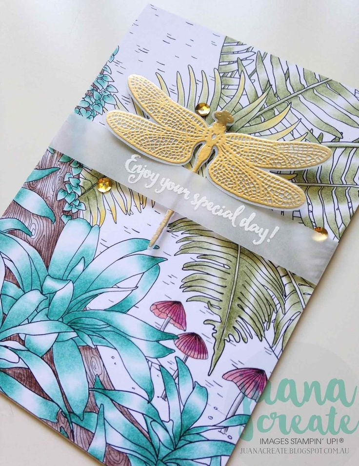 Juana Ambida | Dragonfly Dreams bundle & Inside the Lines dsp | #ESAD2017OccasionsandSABbloghop, #SUWatercolorpencils, #Blenderpen, #Handmadecards, #Stampinup, #Juanacreate