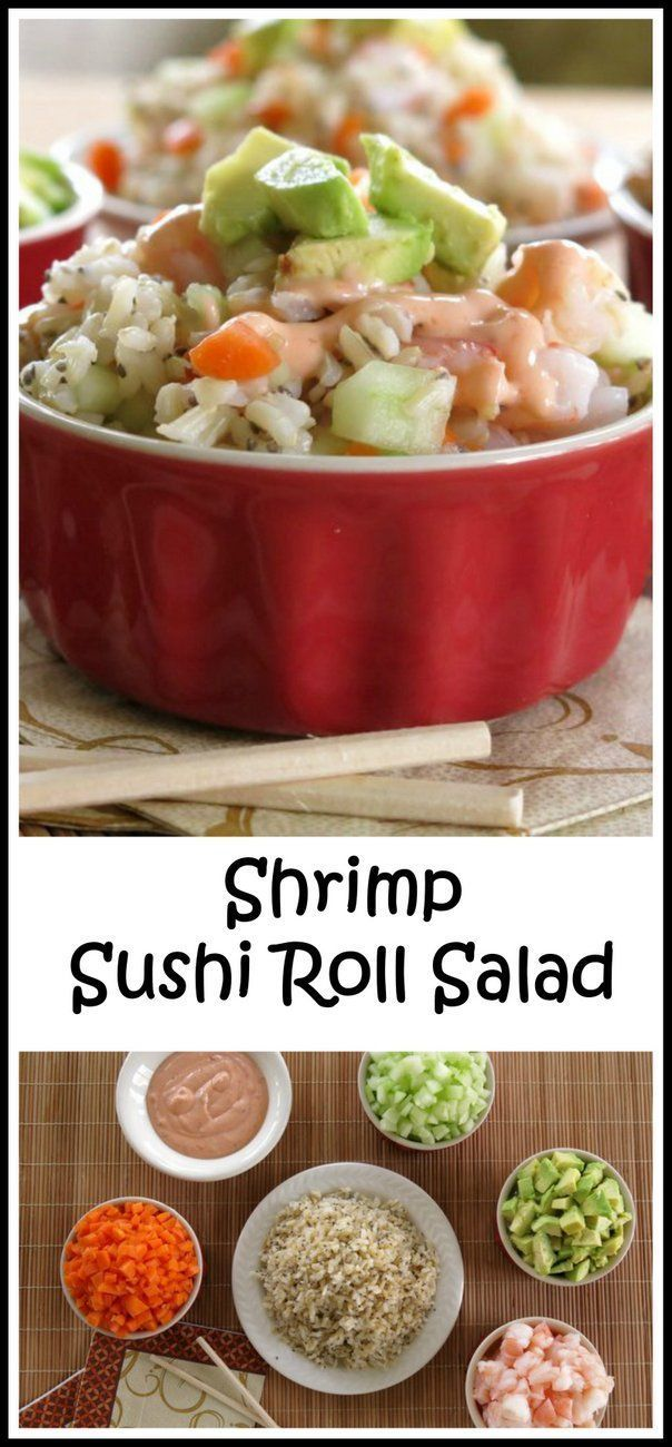 "Shrimp Sushi Roll Salad with Spicy Sauce - easy way to get a sushi ""fix"" and no rolling is involved!"