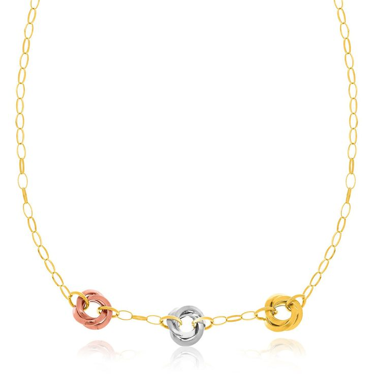 Entwine Trio Rings Chain Necklace - 14k Trio Color Gold