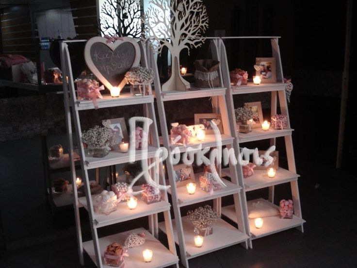 wedding candy bar in stairs