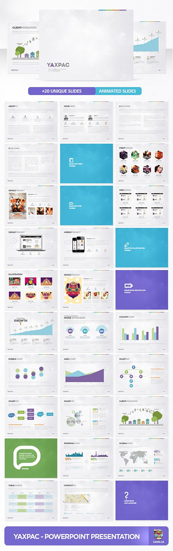 A modern and sick presentation special for a Agency or any type of business  #modern #network #portfolio • Available here → http://graphicriver.net/item/yaxpac-powerpoint-presentation-template/3370925?s_rank=99&ref=pxcr