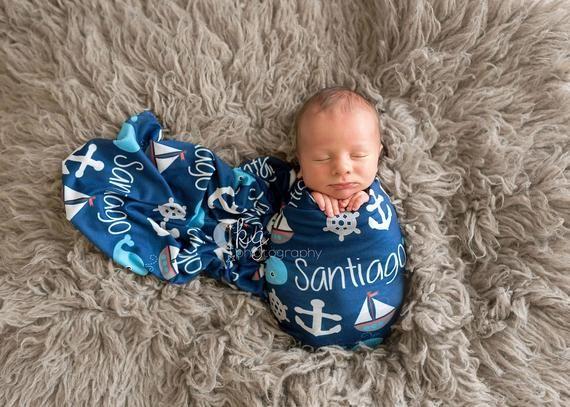Nautical Nursery Personalized Minky Blanket Baby Girl or Boy Nautical Blanket Personalized Baby Blanket Anchor Baby Blanket