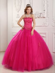 Wholesale Hot Pink Appliqued Sweet Sixteen Quinceanera Dresses