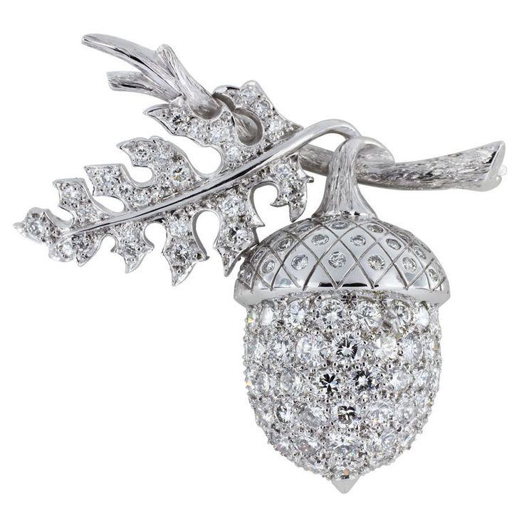 Diamond Acorn Pin