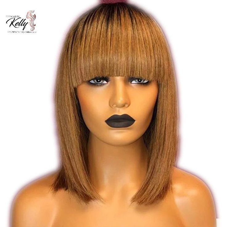13x6 Honey Blonde Lace Front Wigs Fringe Wig Peruvian Remy Ombre Wig Short Bob Wig Straight Human Hair Wigs With Bangs