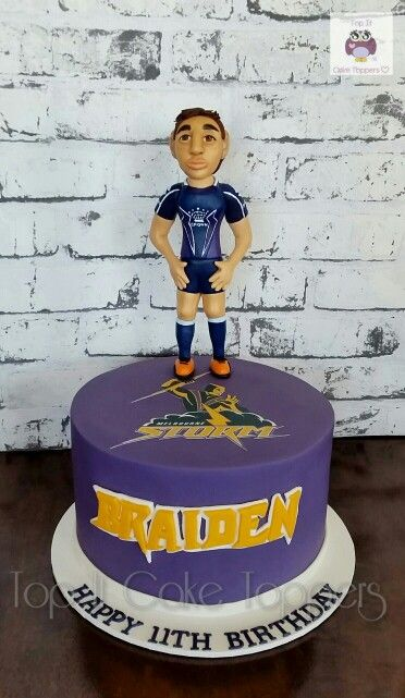 Melbourne Storm cake. NRL cake. Billy Slater cake topper.