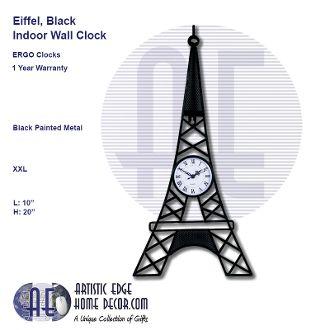 ERGO Eiffel Black Wall Clock