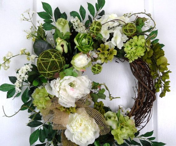 Hey, I found this really awesome Etsy listing at https://www.etsy.com/listing/178975282/spring-summer-white-and-green-hydrangea
