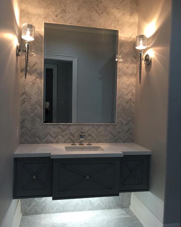 custom floating vanity herringbone marble mosaic for on custom bathroom vanity mirrors id=83331