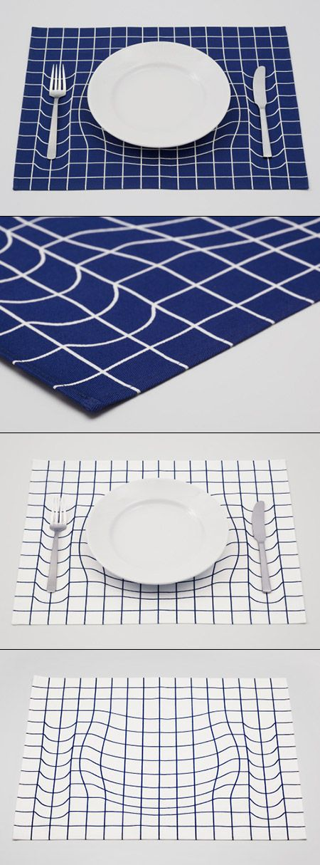 Japanese design studio A.P.Works playfully mimics the imagery of Albert Einstein's space-time fabric theory with this mind-bending placemat. By warping the grid pattern, the trick mat creates the illusion that the plate and silverware are weighing down the placemat's seemingly elastic surface, in the same way that planets and stars distort the plane of space-time. #Iconika