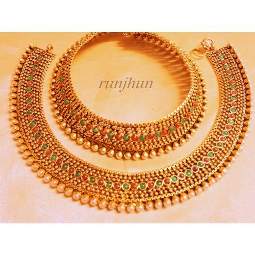 Online Shopping for wedding spl red green payal | Anklets | Unique Indian Products by Runjhun Designer Jewellery  - MRUNJ91644105890