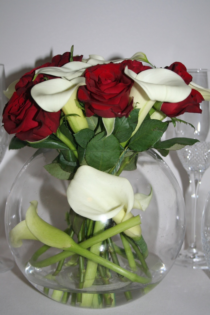 Calla Lily and Rose centrepiece
