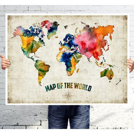 世界地図 お部屋を鮮やかにする水彩画A3おしゃれポスター by Juri