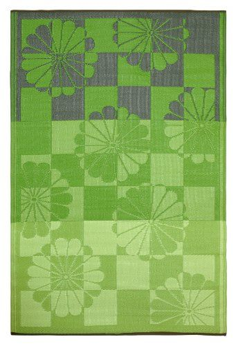 Fab Habitat 6-Feet by 9-Feet Tahiti Indoor/Outdoor Rug - Green Outdoor Patio Rugs