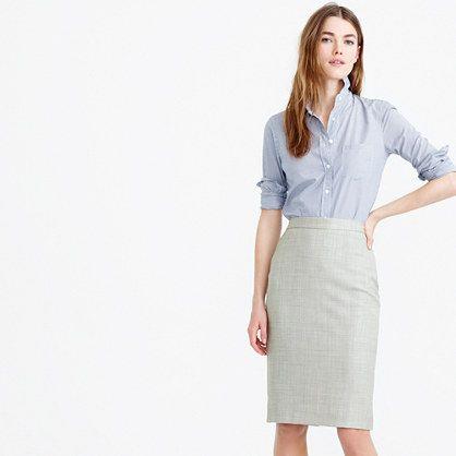 "A classic pencil skirt made from our signature four-season Super 120s merino wool. What makes it so super? 120 is the measure of the fiber: the higher the number, the finer the fiber, and 120 is one of the finest with a silky-smooth finish and a refined drape. <ul><li>Sits slightly below the natural waist.</li><li>22"" long.</li><li>Falls above knee.</li><li>Super 120s merino wool.</li><li>Back zip.</li><li>Back vent.</li><li>Lined in stretch fabric.</li><li>Dry…"