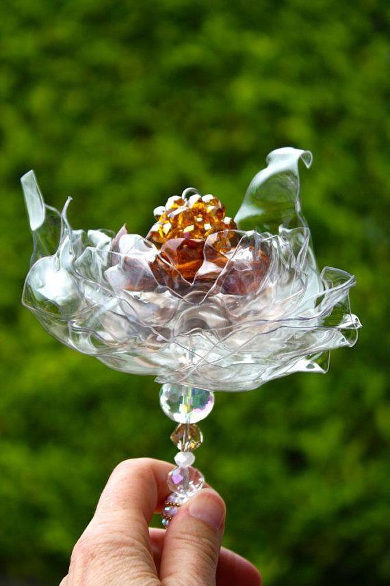 Bacchetta di ambra sposa, Champagne Crystal Jeweled, alternativa Brooch Bouquet, riciclato bottiglia di plastica, decorazioni matrimonio, fiori da sposa