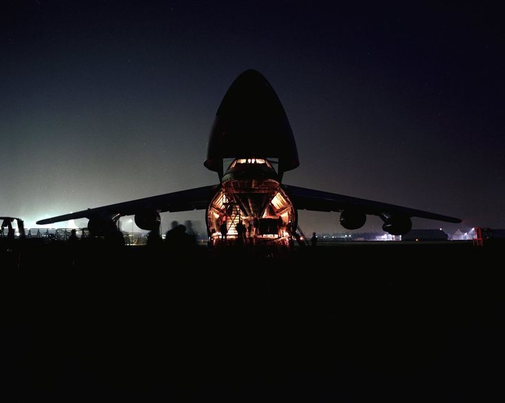 1968 - 1st flight Lockheed C-5 Galaxy US large military transporter designed to carry outsize/oversize cargo