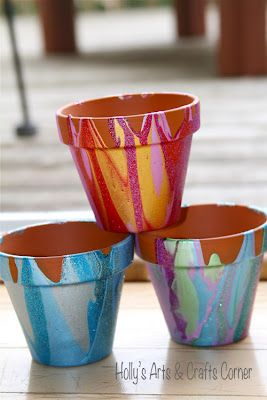 Drip Painted Flower Pots for Pencil Holders -- Holly's Arts and Crafts Corner