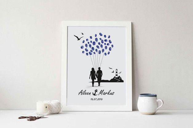 Hochzeitsgästebuch - Weddingtree strand luftballon gästebuch leuchtturm - ein Designerstück von kreativmedien bei DaWanda