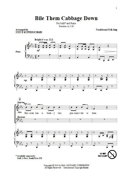 Nouvelle partition chorale sur Modern Score !    : Boil Them Cabbage Down (arr. Steven Kupferschmid) - Partition SAB    #sheetmusic #piano #StevenKupferschmid #Kupferschmid