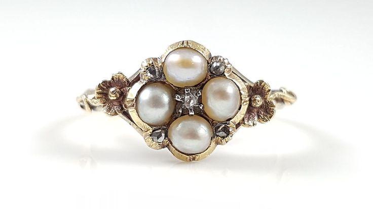 ANTIK VIKTORIANISCH 18CT GOLD 4 STEIN PERLE & DIAMANT BLATTARTIG RING RUND 1880